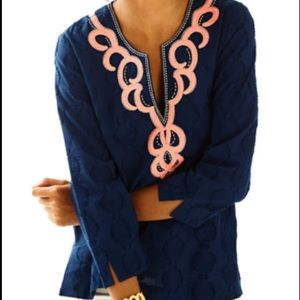 Lilly Pulitzer Navy Embroidered Tunic Size XXS